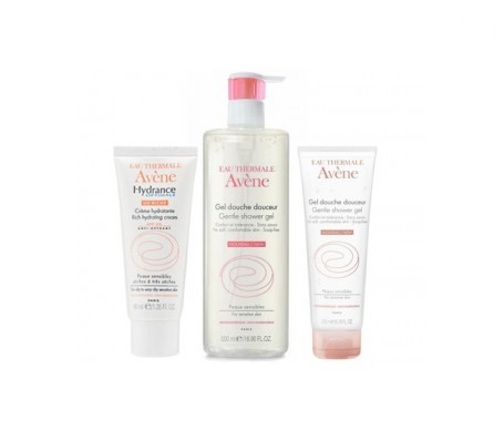 Avène Hydrance Optimale enriquecida SPF20+ 40ml + gel ducha suavidad 500ml + REGALO gel ducha suavidad 100ml