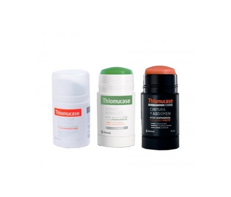 Thiomucase pack crema anticelulítica 50ml + stick zonas rebeldes 75ml + stick hombre 75ml