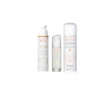 Avène Serenage crema noche 40ml + sérum antiedad 30ml + agua termal 50ml