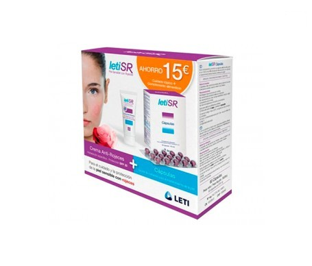 LetiSR crema antirojeces con color 40ml+cápsulas antirojeces 60cáps