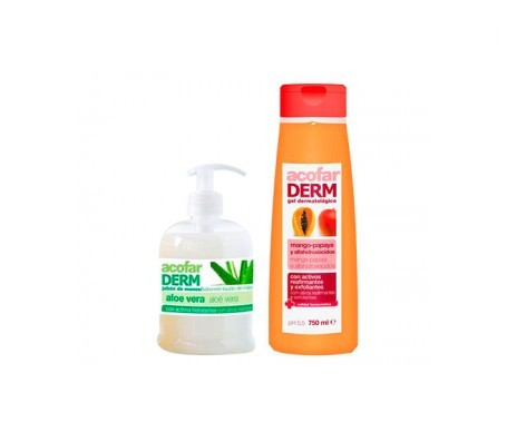 Acofarderm gel mango y papaya 750ml + jabón aloe vera 500ml