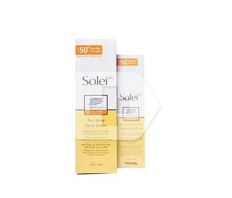 Solei spray aceite solar seco SPF50+ 125ml + Solei crema facial SPF50 50ml