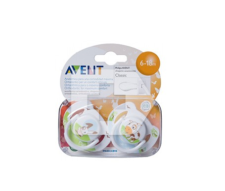 Avent chupete animales 6-18 meses niño 2uds