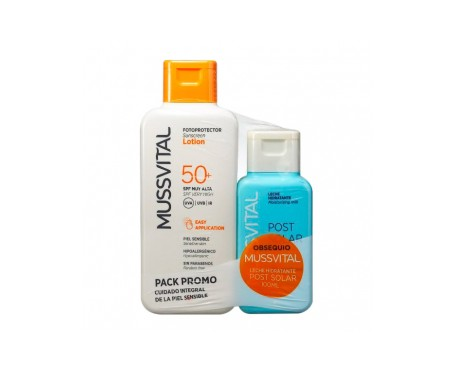 Mussvital fotoprotector leche SPF50+ 200ml + Regalo aftersun 1