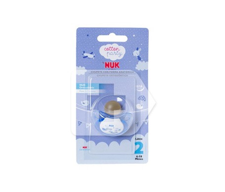 NUK Chupete Anatómico cotton party azul T 2 1u
