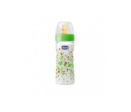 Chicco® biberón plástico tetina caucho flujo regulable 250ml