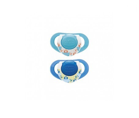 Chicco® chupete caucho anatómico 6m+ azul 2uds
