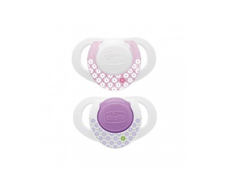Chicco® chupete de caucho tetina forma cereza color rosa 6+m 2uds
