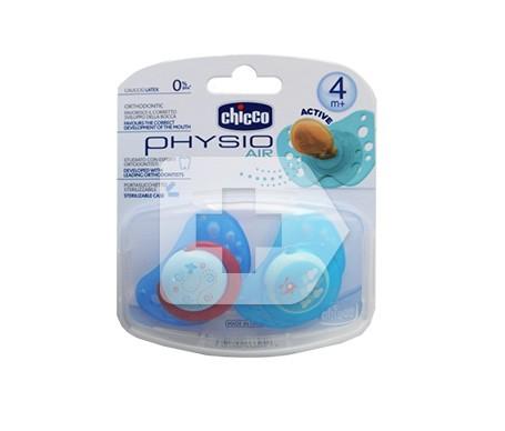 Chicco® chupete physio silicona anatómico 4m+ azul 2uds