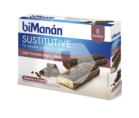 biManán® Sustitutive sabor chocolate negro y blanco 24 barritas