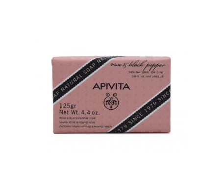 Apivita jabón con rosa y pimienta negra 125g