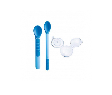 Mam Heat Sensitive Spoon & Cover cubiertos con puntas sensibles al calor 3uds