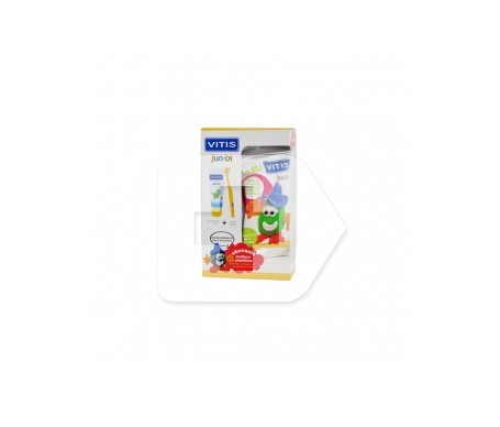 Vitis Junior cepillo 1ud + gel dental 75ml + REGALO muñeco plástico