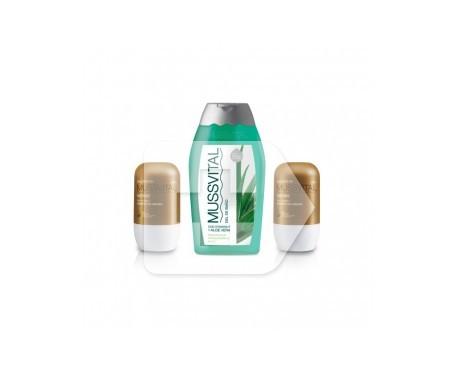 Mussvital desodorante aceite de argán 2udsX75ml + gel de viaje 100ml
