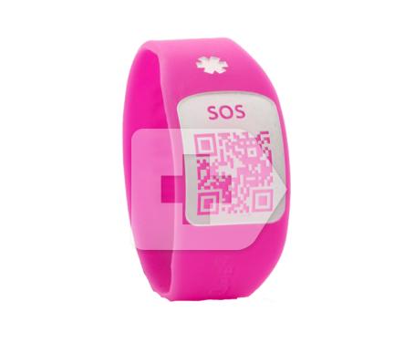 Silincode pulsera SOS QR color rosa T-XS 1ud
