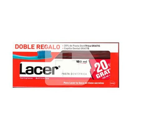 Lacer pasta dental con flúor 125ml+20% GRATIS + cepillo 1ud