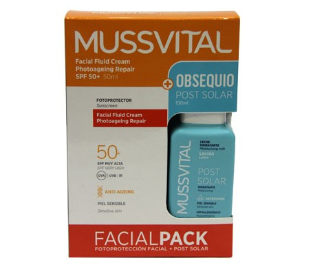 Mussvital Facial Pack crema facial SPF50+ 50ml + loción post solar 100ml