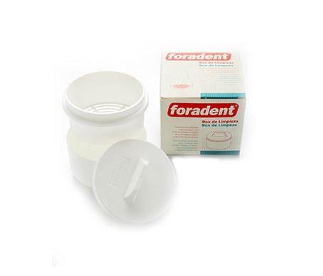 Foradent box para limpieza de prótesis dental 3 compartimientos