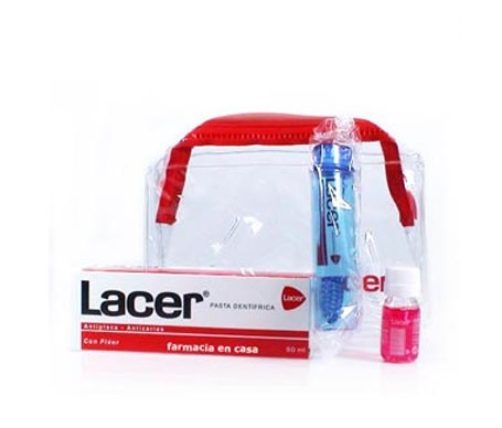 Lacer neceser pasta dental antiplaca 50ml + cepillo viaje + colutorio y pasta dental muestras