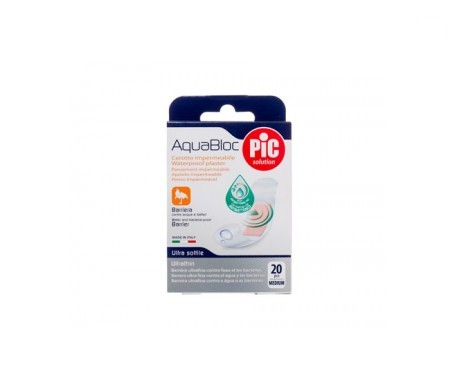 PiC Aquabloc con bactericida apósito adhesivo 19x72mm 20uds