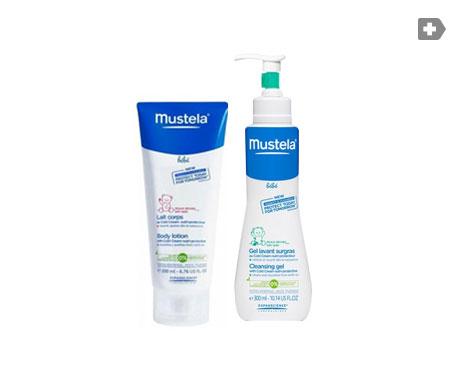Mustela gel limpiador surgras 300ml + Hydra Bebe leche corporal 200ml