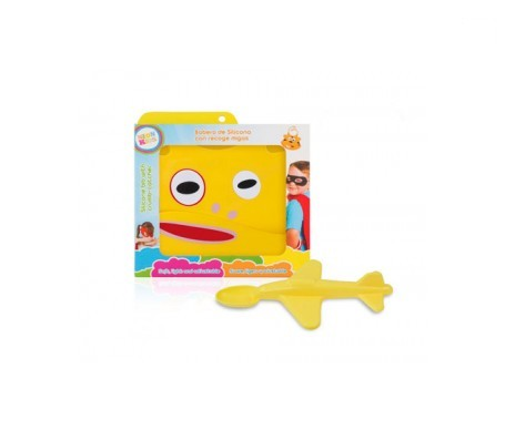 Neon Kids pack babero + cuchara avión amarillo