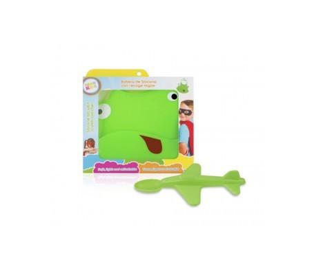 Neon Kids pack babero + cuchara avión verde