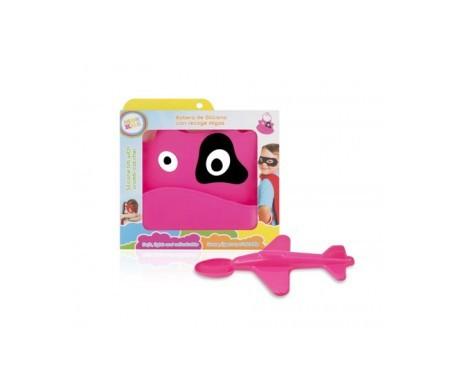Neon Kids pack babero + cuchara avión rosa
