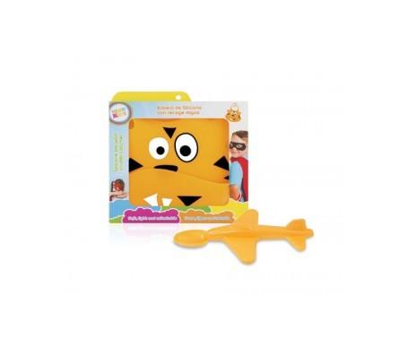 Neon Kids pack babero + cuchara avión naranja