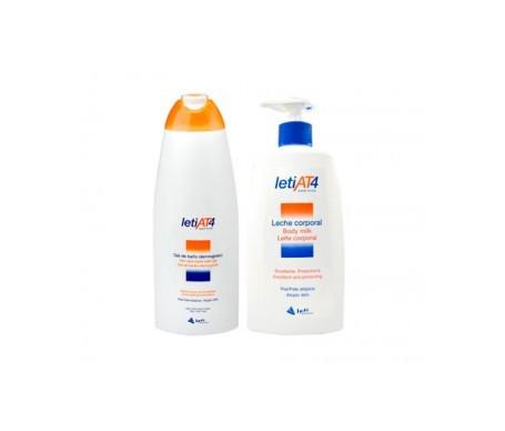 LetiAT4 pack gel de baño dermograso 750ml + leche corporal 500ml