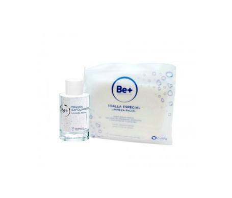 Be+ poudre exfoliante 30ml + serviette nettoyante pour le visage