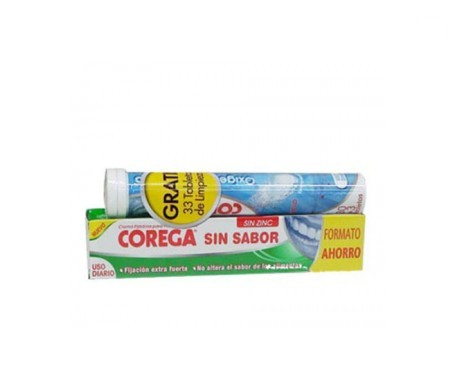 Corega® Sin Sabor crema fijadora 70g + Oxígeno Bio-Activo 33 tabletas