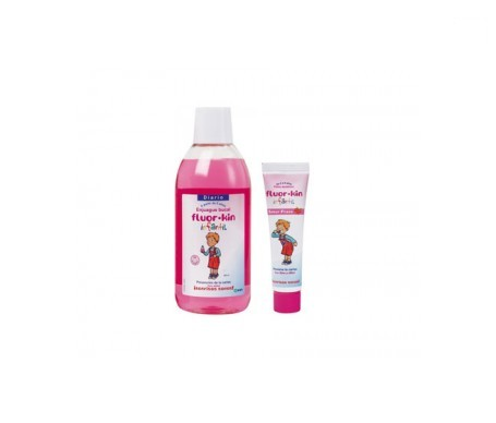 Fluor-Kin Infantil colutorio fresa 500ml + Fluor-Kin Infantil dentífrico fresa 50ml