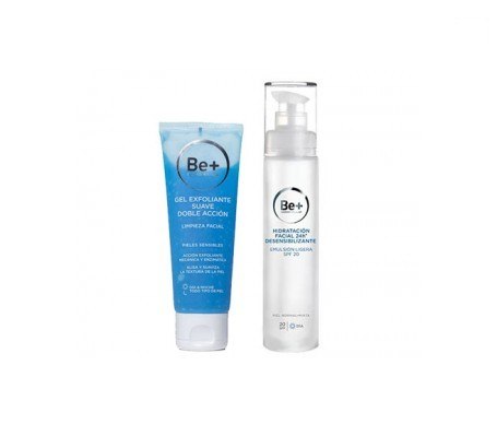 Be+ gel exfoliante 75ml + hidratante facial SPF20+ 50ml