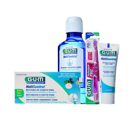 GUM® Halicontrol 10 tabletas + colutorio 300ml + gel dental 75ml + cepillo 1ud