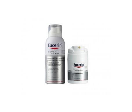 Eucerin® Men Pack Deep Moisture crema hidratante 50ml + Silver Shave espuma de afeitar 150ml