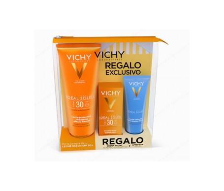 Vichy Idéal Soleil Leche Hidratante SPF30+ + Emulsión Facial Acabado En Seco SPF30+ + Aftersun 100ml