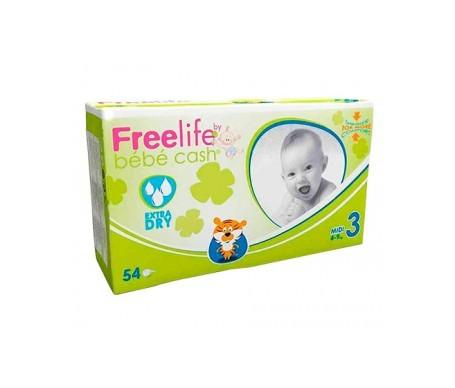 Bebé Cash Freelife pañales talla 3 54uds