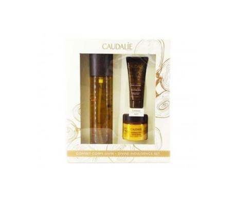 Caudalie Pack Aceite divino + loción con color piernas divinas + exfoliante divino
