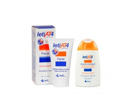 LetiAT4 crema emoliente facial 50ml + gel de baño 100ml