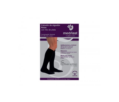 Medilast calcetín Silver Edition compresión normal con algodón negro T-XL