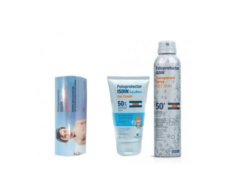 Fotoprotector ISDIN®Pack Wet skin SPF50+200ml+gel crema SPF50+150ml+Obsequio