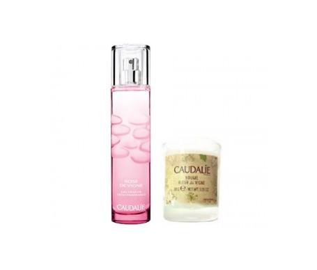 Caudalie agua refrescante rose de vigne 50ml + vela perfumada REGALO