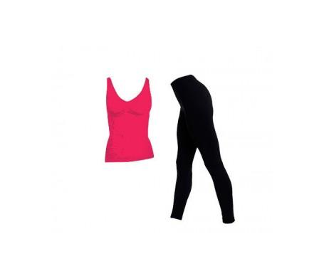 Anaissa camiseta reductora color fucsia y leggings color negro T-L