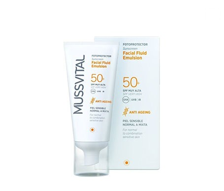 Mussvital facial fluid emulsión color SPF50+ piel sensible/normal 50ml