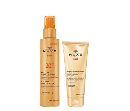 Nuxe Sun leche corporal y facial spray SPF20+ 150ml + Nuxe Sun leche post-solar 200ml