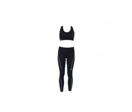 Anaissa malla larga y top deportivo color negro T-S