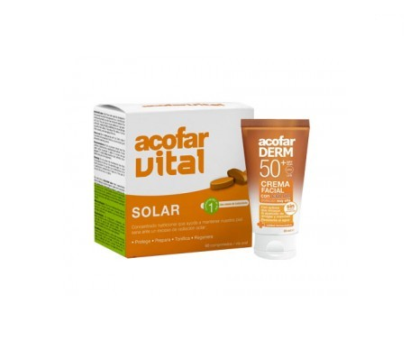 Acofarderm solar con color SPF50+ 50ml + Acofarvital Solar 60comp