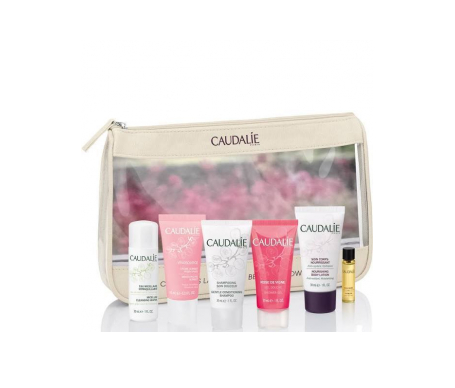 Caudalie Travel Bag with a variety of beauty products