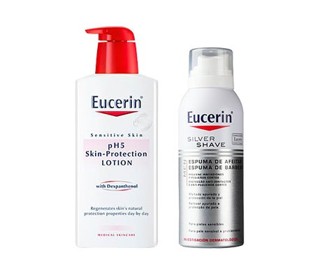 Eucerin® Men Pack Silver Shave espuma de afeitar 150ml + pH5 Skin-Protection Loción 200ml